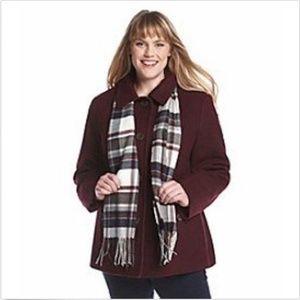 Nautica Wine Wool Coat with Scarf, sz 2xl xxl